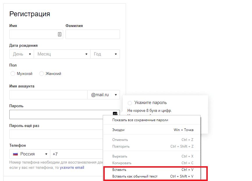 Как пользоваться менеджером паролей - вставка пароля